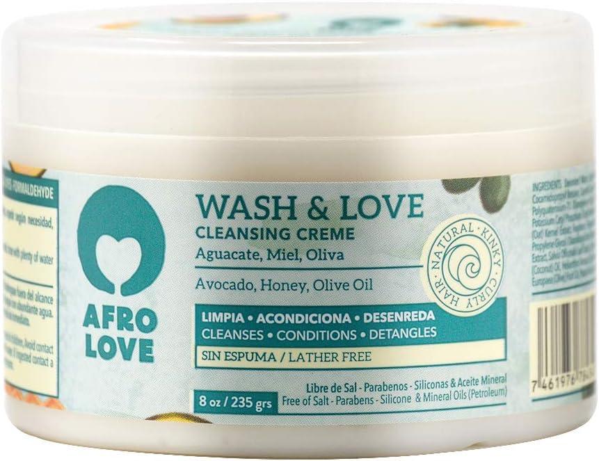 Afro Love Wash & Love Acondicionador Limpiador – Cowash para pelo rizado sin siliconas sin SLS sin parabenos ni aceites minerales 450g, con aguacate, miel y aceite de oliva, sin espuma (235g)