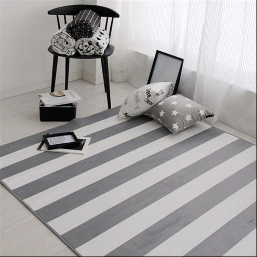 GRENSS Moderne Geometrische gestreiften Teppich Teppiche koreanischen Stil Wohnzimmer Tisch Kinder Teppich Rutschfeste Home Decor Rechteck Schlafzimmer Matten, Geometrische gestreift, 700 x 1400 mm