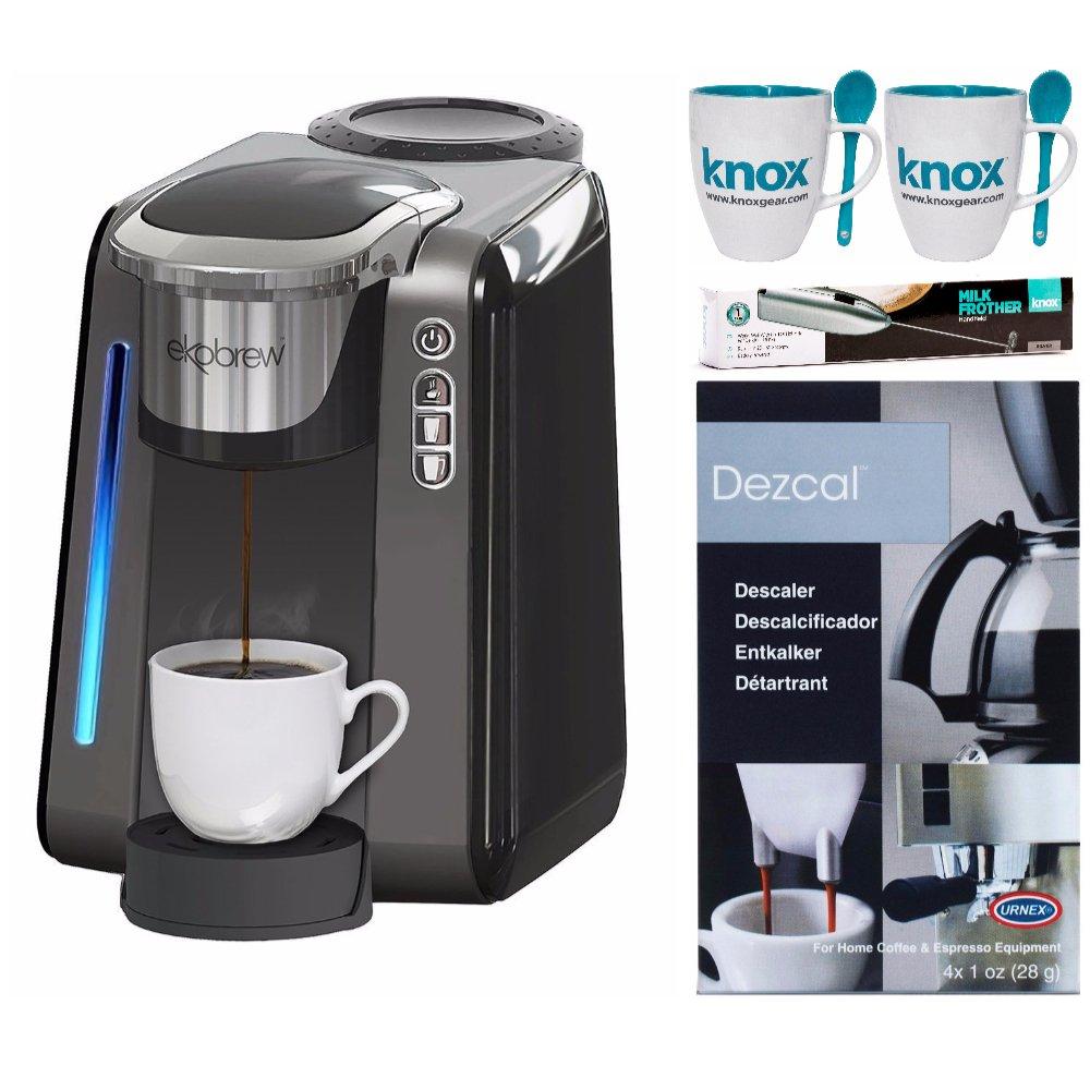 Ekobrew 40215 Universal Single Cup Brewer + Knox Mugs, Knox Milk Frother and Urnex Descaling Powder by ekobrew