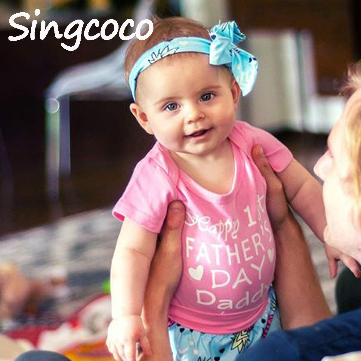 Singcoco 3PCS Short Set Baby Girls Happy First Fathers Day Romper