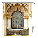 Liguo88 Custom Waterproof Bathroom Shower Curtain Polyester Moroccan Decor Collection Vintage Building Design Islamic Housing Art Historic Exterior Facade Mosaic Tap Decorative bathroom