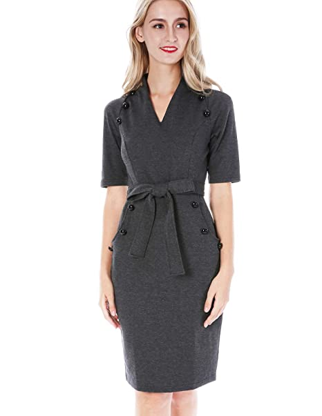 Chiciris Women Cozy Business Suit Short Sleeve Belted Bodycon Pencil