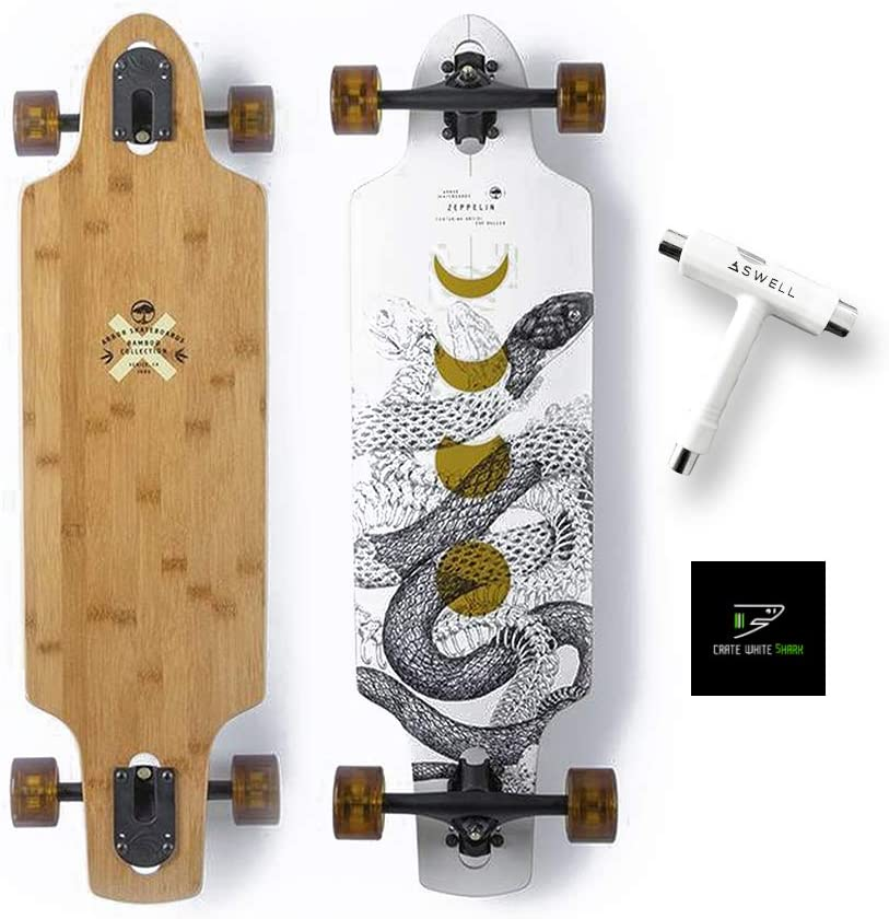Arbor Collective Bamboo Collection Skateboard Bundled with Swell Skate-Tool + Crate White Shark Sticker