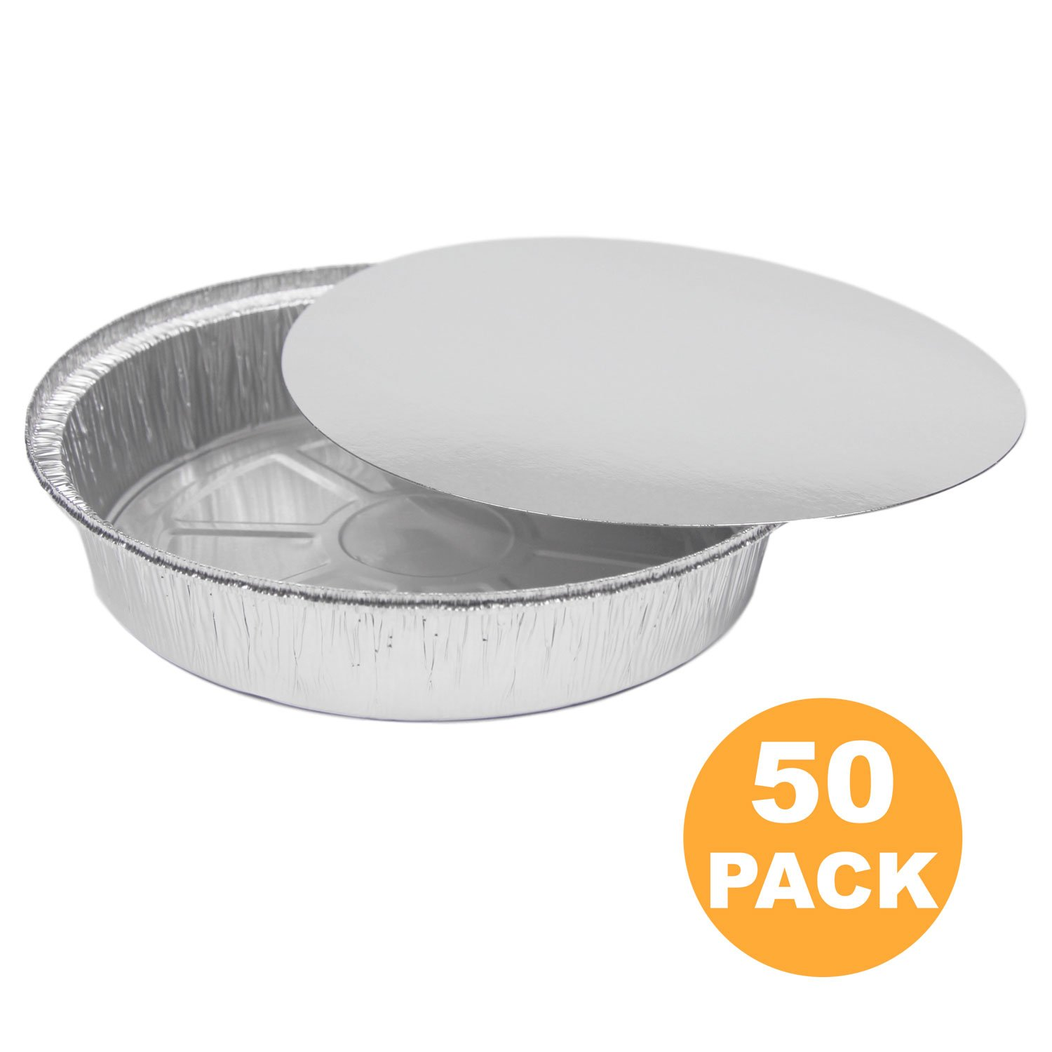 Round 9 Inch Disposable Aluminum Foil Pan Take Out Food Containers with Flat Board Lids, Steam Table Baking Pans, 46 oz, 2.9 lb, 1.5 Quart [100 Pack]