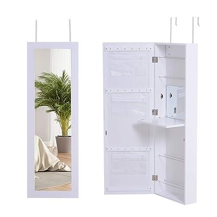 Schmuckschrank Spiegelschrank Wandspiegel Spiegel Wandschrank mit LED Weiß