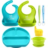 PandaEar Baby Toddlers Infants Feeding Set |Adjustable Silicone Bibs | Suction Bowls |Divided Plates Soft Spoon |Cup…