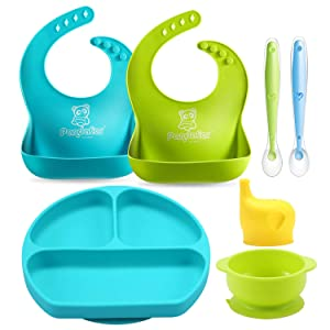 PandaEar Baby Toddlers Infants Feeding Set |Adjustable Silicone Bibs | Suction Bowls |Divided Plates Soft Spoon |Cup Holder & Self Feeding Aids