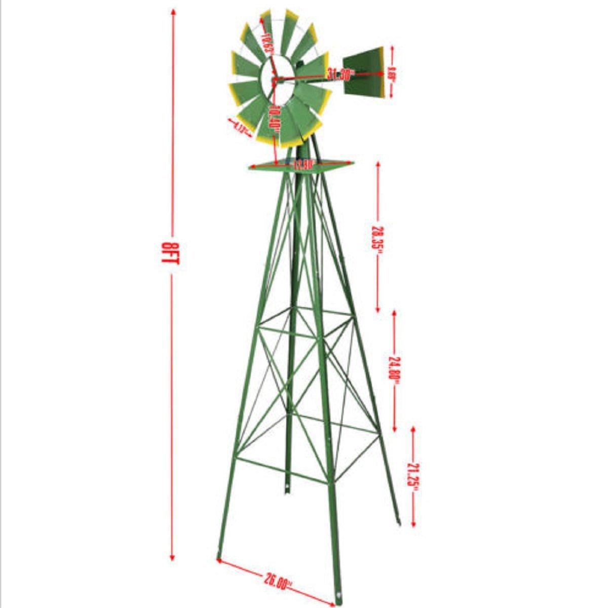 USAプレミアムStore風車Ornamental風ホイールグリーンとイエローガーデン天気ベーン8 ft Tall B075FLQDKX 22403