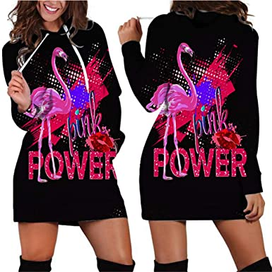 Flamingo Women Long Sleeve Long Hoodie Sweatshirt Dress Autumn Tracksuit