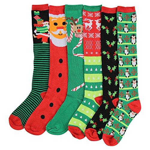 Women's Colorful & Fun Knee High Socks 6 Pack (Christmas 1)]()