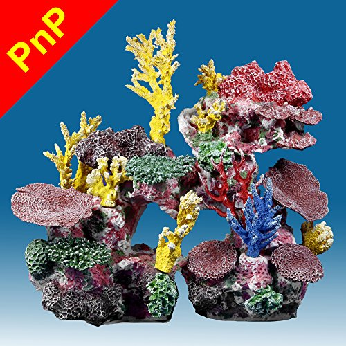 Instant Reef DM038PNP Large Artificial Coral Inserts Decor, Fake Coral Reef Decorations for Colorful Freshwater Fish Aquariums, Marine and Saltwater Fish Tanks