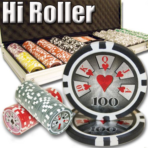 500 Count Hi Roller Poker Set - 14 Gram Clay Composite Chips with Aluminum Case, Playing Cards, & Dealer Button for Texas Hold'em, Blackjack, & Casino Games by Brybelly ()