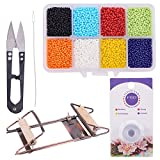 PH PandaHall Bead Loom Kit with About 1600pcs Colorful Beads, Steel Scissors, Knitting Needle, Threads for Necklace Bracelet Jewelry DIY Making