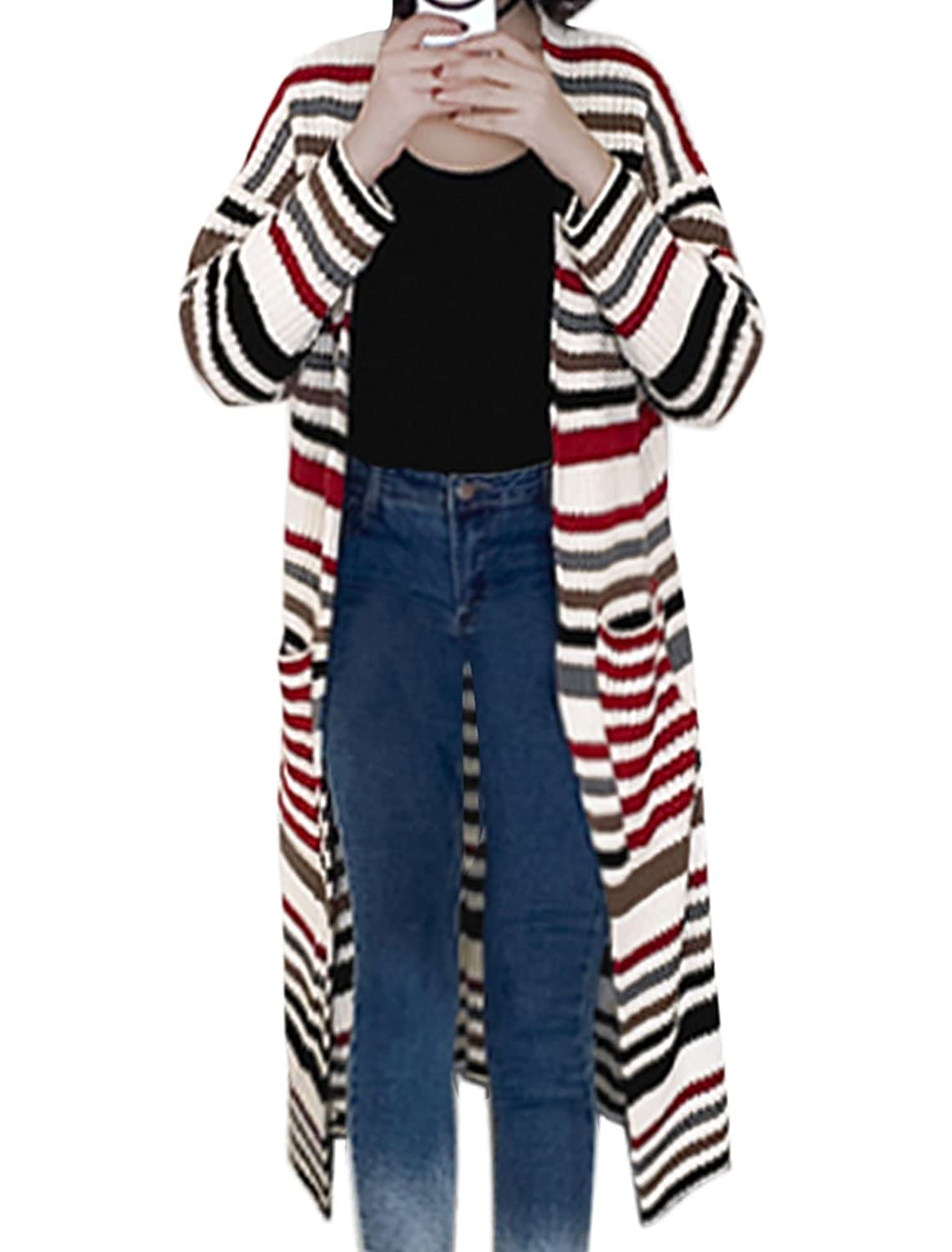 uxcell Women Long Sleeves Open Front Stripes Loose Sweater Cardigan