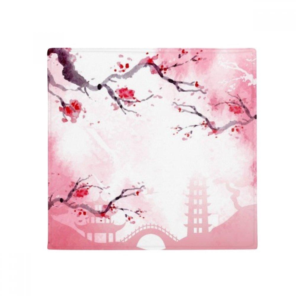 DIYthinker Japan Culture Pink Sakura Illustration Pattern Anti-Slip Floor Pet Mat Square Home Kitchen Door 80Cm Gift