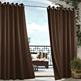 DREAM ART Outdoor Waterproof Patio Curtains Drapes Canopy Gazebo Privacy Water & Wind Repellent Courtyard Exterior Blackout S