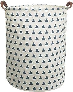 "ESSME Large Laundry Hamper Waterproof Coating Canvas Fabric Storage Basket-Toy Organizer, Baby Nursery Hamper19.7×15.7"" (Blue Triangle)"