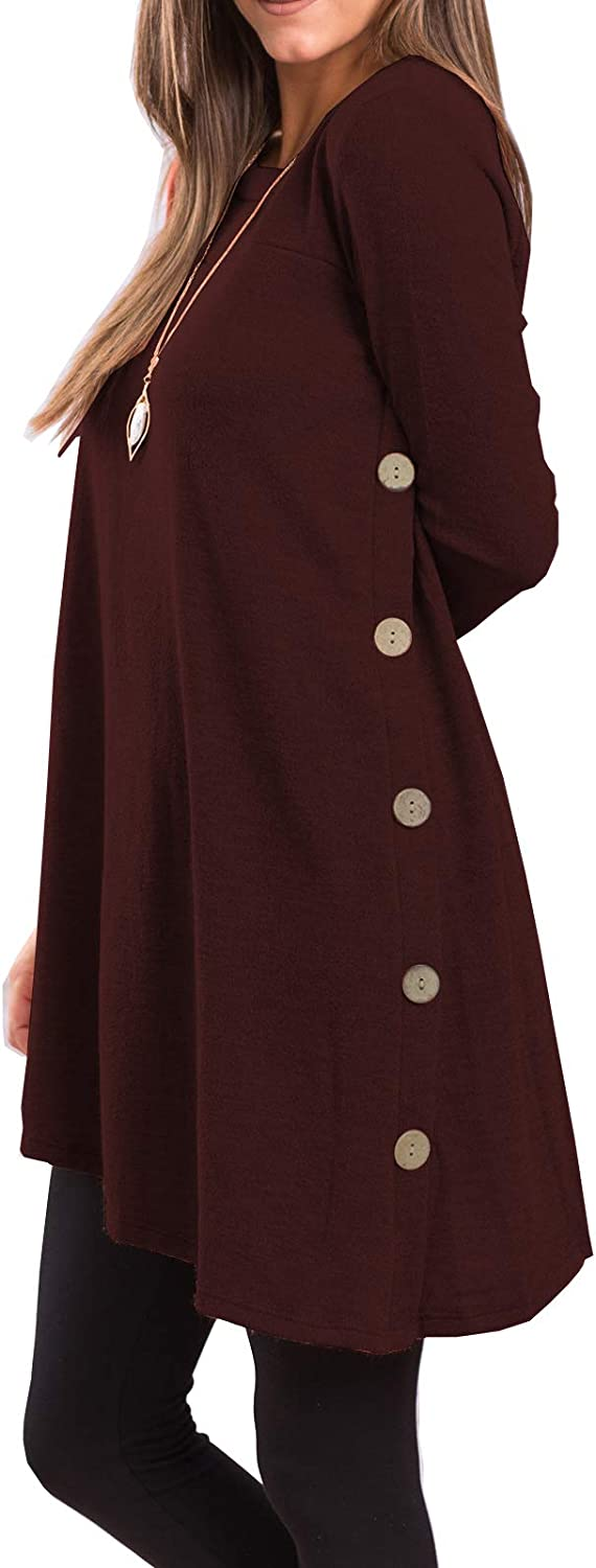 iGENJUN Women's Long Sleeve Scoop Neck Button Side Sweater Tunic Dress at  Women's Clothing store
