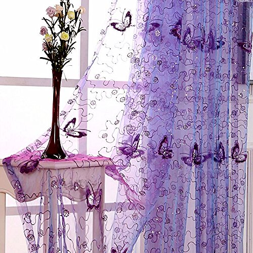 WINYY Romantic Modern Embroidered Sequins Butterfly Rustic Sheer Voile Curtains Rod Pocket Top for Living Room Bedroom Kitchen Window Treatments Purple,1 Panel W40 x H84 inch (Romantic Window Treatments)