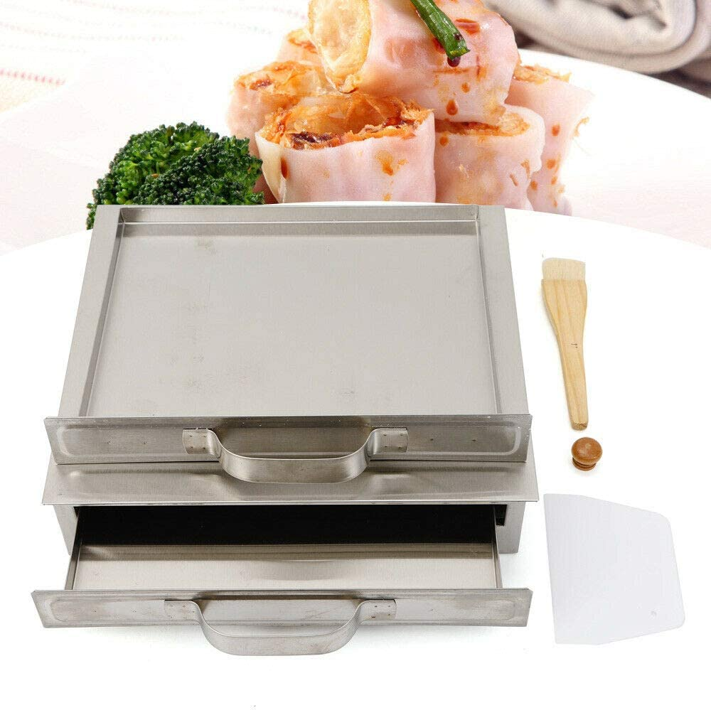 Chinese Rice Noodle Roll Food Steamer Single Layer with Extra Tray Stainless Steel Guangdong Recipes Cooking Container Set