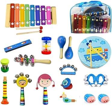 Juego de instrumentos musicales para niños con xilófono, 18 piezas ...