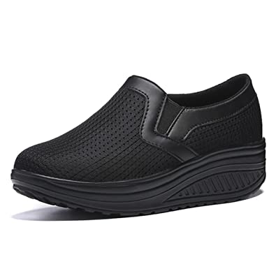d8bb5416e982 ZENGVEE Ladies Slip On Platform Trainers Womens Shape Up Shoes Walking  Fitness Wedge Trainers in black