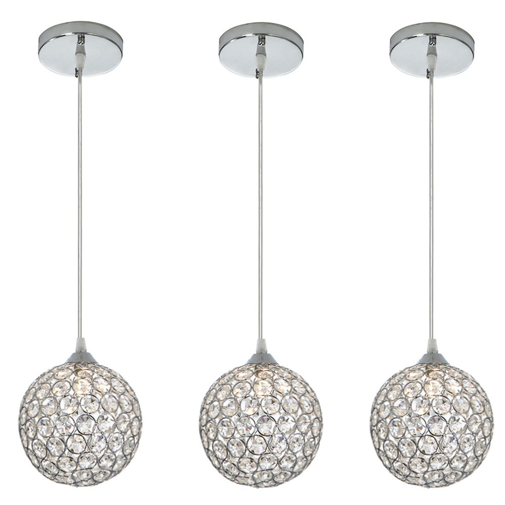 Cotulin 10-57'' Adjustable Cord Length Crystal Silver Indoor Pendant Light, A Pendant Light for Kitchen Island, Restaurants, Hotels and Shops - 3 Packs