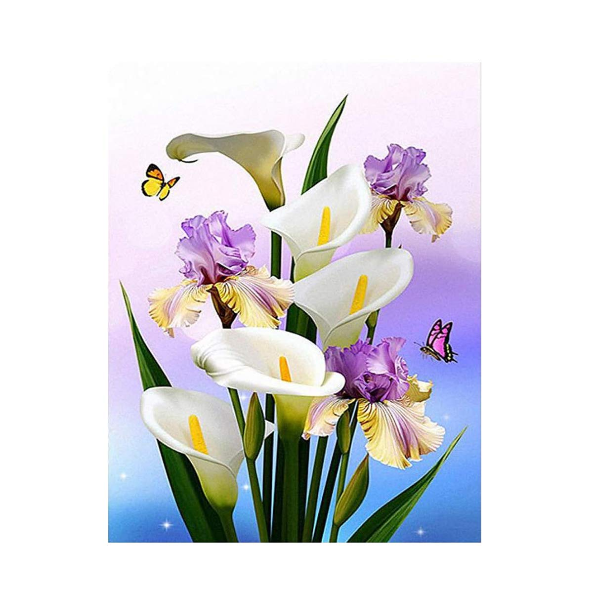 663946ab3 Amazon.com: Lily Flowers Butterfly, Full Drills DIY 5D Diamond Painting by  Number Kits, Shiny Rhinestone Embroidery Pictures Arts Craft