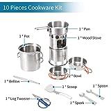 Lixada 10Pcs Camping Cookware Mess Kit Stainless