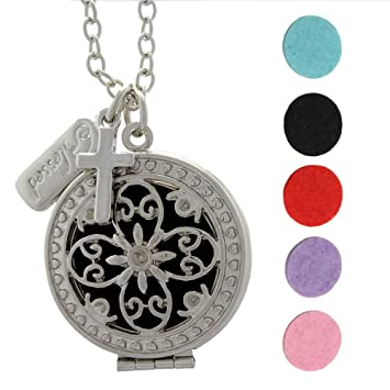Amazoncom Aromarain Blessed Cross Essential Oil Diffuser Necklace