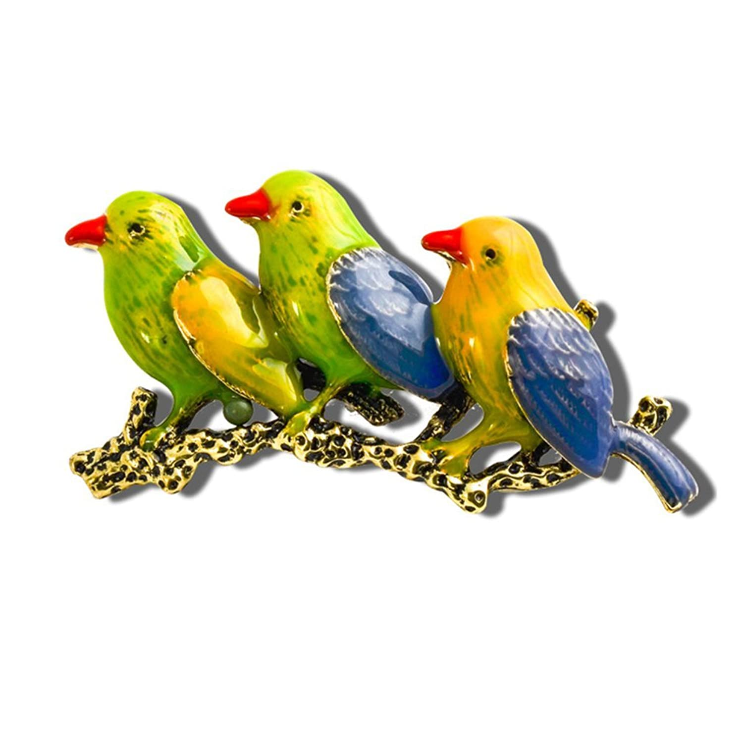 Sewanz Women's Elegant Colorful Three Brids Brooch Pins,Metal Jewelry Corsage Costume Accessory