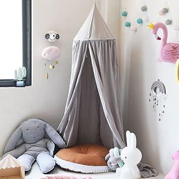 SevenD Baby Betthimmel Baldachin Baumwolle Rund Moskitonetz Insektenschutz  Kinder Prinzessin Spielzelte Dekoration Fürs Kinderzimmer (Grau