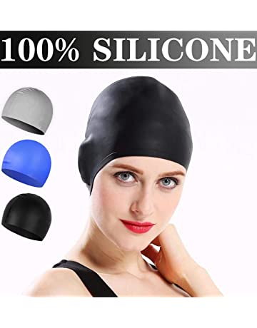 4e660ea1d9c8ce Comforer Swim Cap Silicone Swimming Cap for Women Men Adults Youths  Waterproof Bathing for Long or