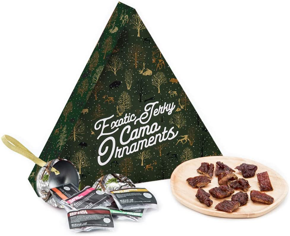 Exotic Jerky Camo Ornaments – Cleverly Stuffed with 12 Delectable, Exotic Jerky Bites – Includes 6 Camouflaged Christmas Ornaments – Makes Decorating A Literal Treat