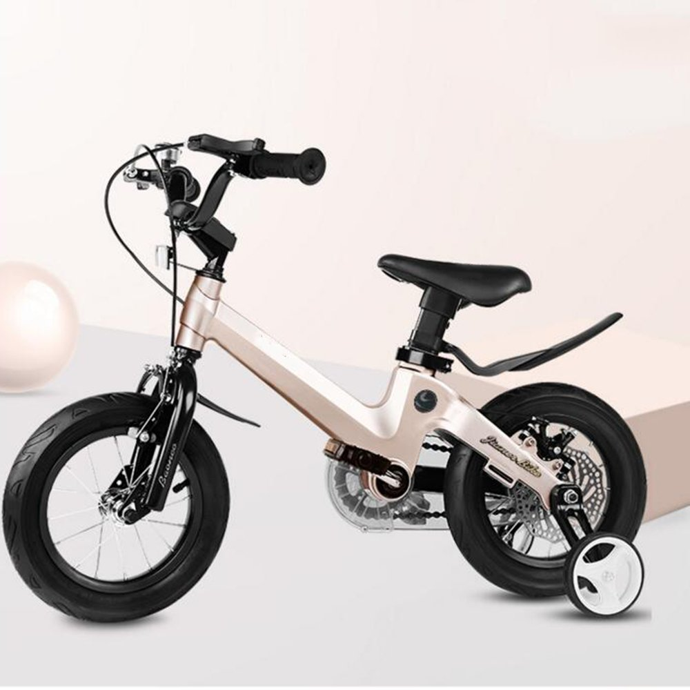 YANGFEI 子ども用自転車 18インチ子供用自転車ベビー用バイク6-10歳乳母車少年少女の自転車マグネシウム合金フレーム安全ディスクブレーキ 212歳 B07DWVJNDXゴールド