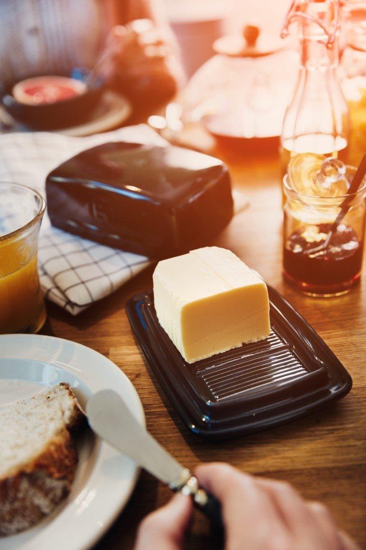 Emile Henry Made In France Burgundy Butter Dish