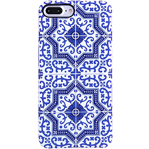 iPhone 7 Plus Case for Girls,iPhone 8 Plus Case,VIVIBIN Cute Blue Pattern for Women or Kids,Clear Bumper Best Soft Silicone Rubber Matte TPU Protective Cover Slim Fit Phone Case for iPhone 7/8 Plus