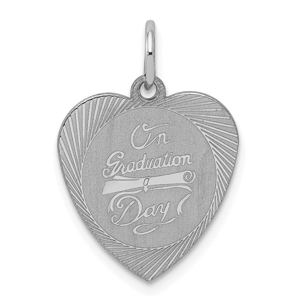 Mireval Sterling Silver Anti-Tarnish Treated on Graduation Day Heart Disc Charm