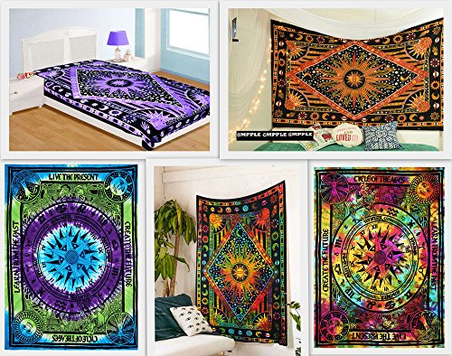 By India Handmade Wholesale Pack of 5 Twin Tapestries Galaxy Sun Moon Stars Tapestry Indian Handmade Planet Tapestry Celtic Cycle of Ages Tie Dye Tapestry Wall Hanging Home Decor Bedspread (PACK (Celtic Sun Moon)