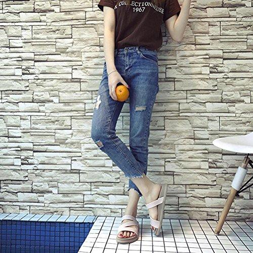zapatillas Sandalias tirón de las planas del de chanclas de BBestseller mujeres color sólido mujeres simples casa Sandalias Beige del gqZxXf7