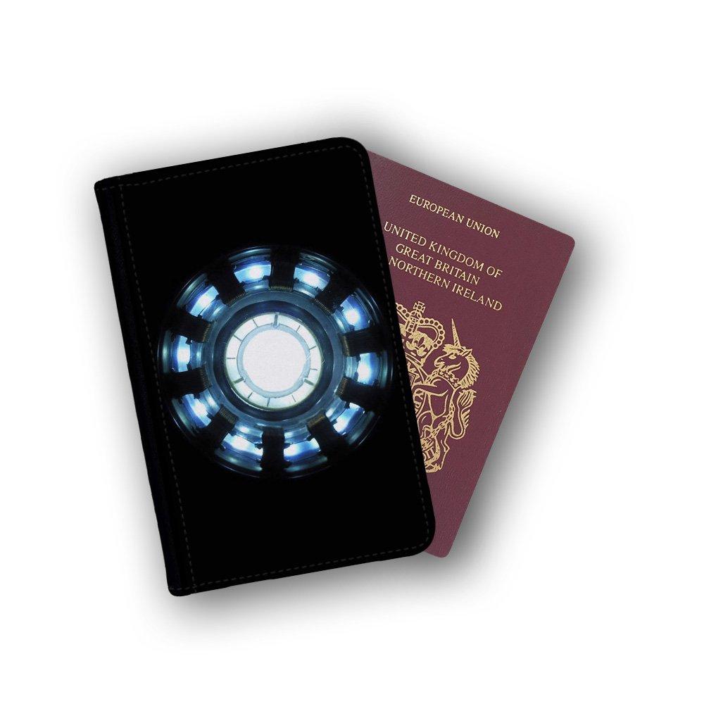 Arc Reactor Tony Stark Iron Man Marvel Superhero Passport Wallet Card Holder Boarding Pass Travel Protection Flip Cover Case