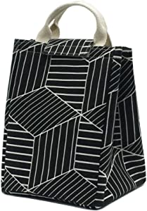Mziart Reusable Lunch Bag, Foldable Canvas Lunch Tote Travel Bag Lunch Box Holder Bento Cooler Bag for Women Men Adults (Geometric Pattern - Black)