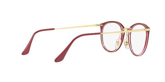 adecda3421b Amazon.com  Ray-Ban RX7140-5854 Eyeglasses TRANSPARENT ON TOP AMARANTH  49mm  Clothing