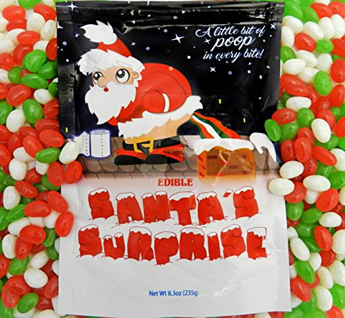 Santa's Surprise Stocking Stuffer Poop Candy (Christmas Jelly Beans - 8.3oz) 1/2 LB - Lump of Coal Alternative - Naughty or Nice Christmas Gag Gift (1 Pack)