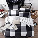 ZHIMIAN Bedding Reversible Plaid Print Zipper Closure 3 Piece Duvet Cover Set(1 Duvet Cover + 2 Pillow Shams)(King,Grey)