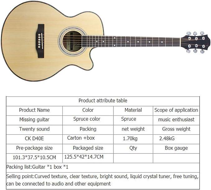 KJUHVBF Guitarra de 40 \Perilla Cerrada en ángulo de Abeto con ...
