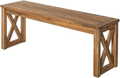 WE Furniture Acacia Wood X-Frame Outdoor Bench