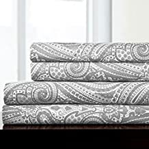 Sweet Home Collection 4 Piece 1800 Thread Count Egyptian Quality Deep Pocket Bed Sheet Set, King, Paisley Gray
