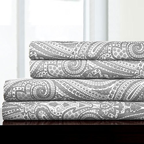 Sweet Home Collection 4 Piece 1800 Thread Count Egyptian Quality Deep Pocket Bed Sheet Set, Queen, Paisley Gray (Paisley Pillows Grey)