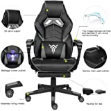 YOURLITEAMZ Racing Gaming Chair with Footrest and Massage Lumbar Pillow
